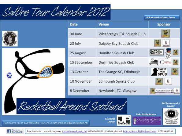 Racketball Around Scotland - Tour Calendar 2012 with ALS