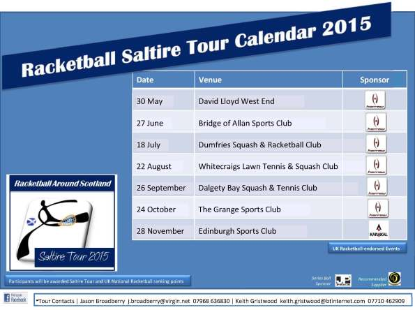 Racketball Around Scotland - Tour Calendar 2015