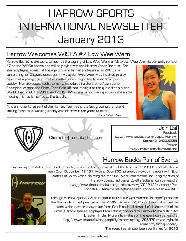 Harrow Newsletter Jan 2013