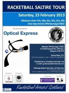 Racketball Masters Event - Whitecraigs - 23 February