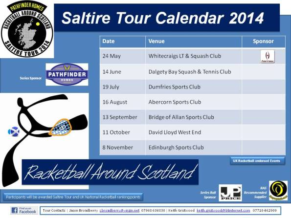 Racketball Around Scotland - Tour Calendar 2014