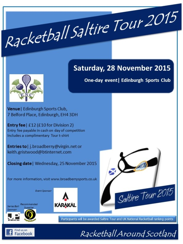 Racketball Around Scotland Tour -Edinburgh Sports Club - 28 November 2015