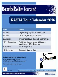 Racketball Around Scotland - Tour Calendar 2016
