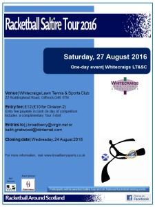 Racketball Around Scotland Tour - Whitecraigs LT&SC - 27 August 2016