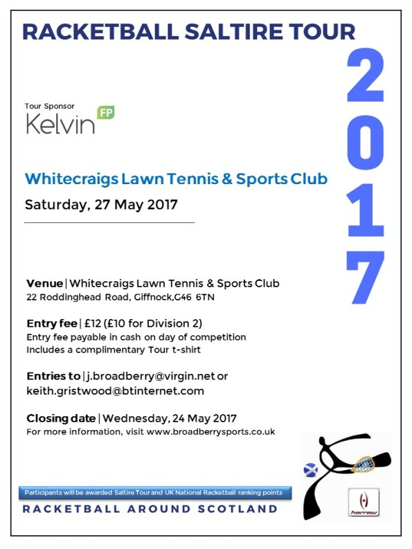 Racketball Tour - Whitecraigs - May 2017