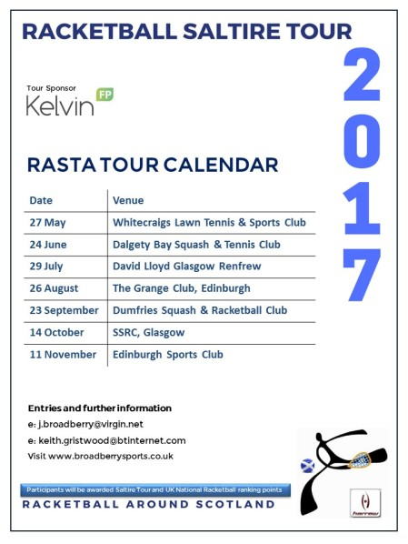Racketball Around Scotland - Tour Calendar 2017