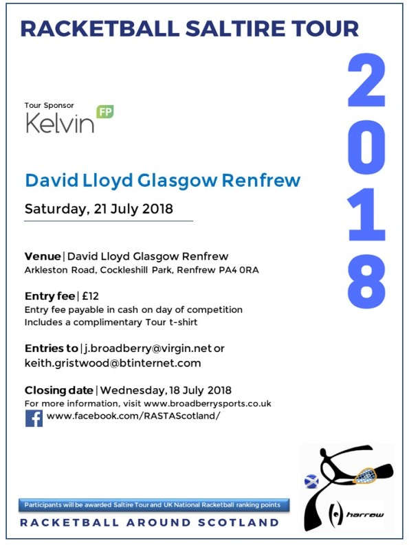 Racketball Around Scotland Tour - David Lloyd Renfrew -21 July 2018