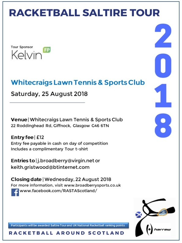 Racketball Around Scotland Tour - Whitecraigs LT&SC - 25 August 2018