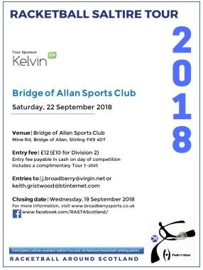 Racketball Around Scotland Tour - Bridge of Allan - 22 September 2018