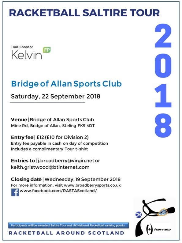 Racketball Around Scotland Tour - Bridge of Allan - 22 September 2018