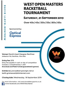 west open masters racketball - 21 september 2019